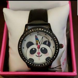 Betsey Johnson panda unicorn black strap watch